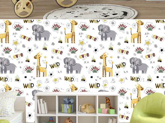 Дикие слоны и жирафы