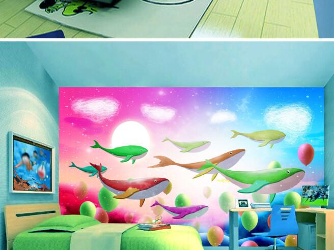 Фотообои Разноцветные киты и шарики