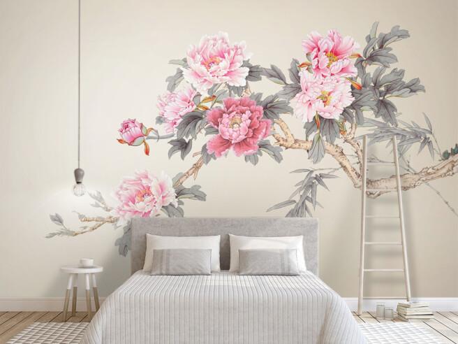 Фотообои Ветка с розовыми цветами