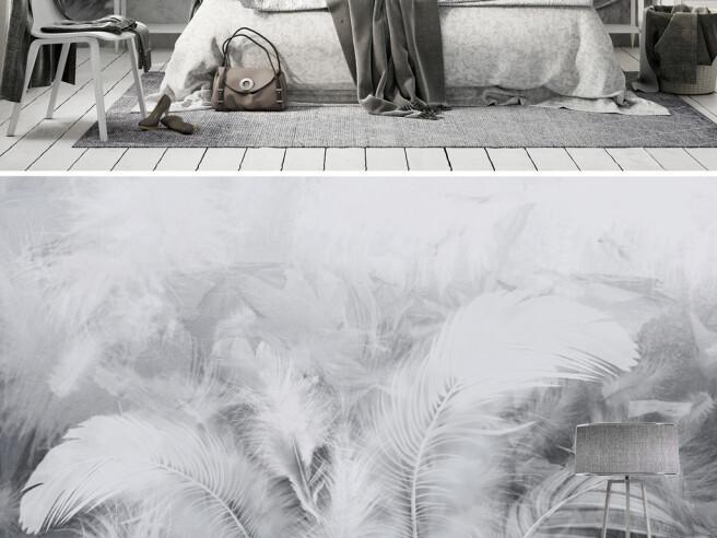 Фотообои Серые перья на стене