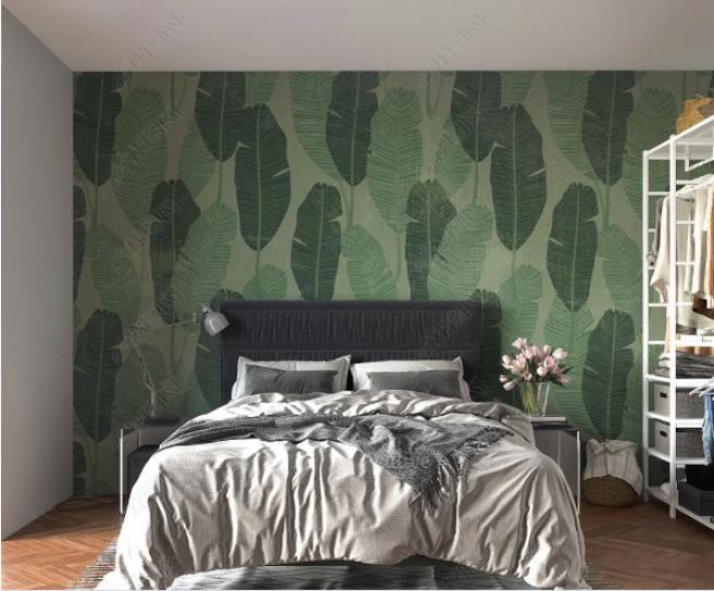 Фотообои листья с зеленым фоном