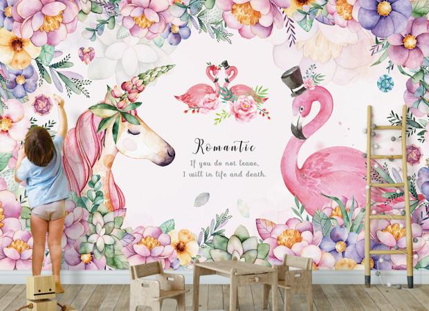 Романтика лошади и фламинго