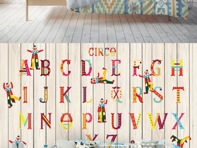 Фотообои Алфавит на деревянном фоне