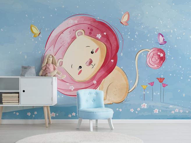 Фотообои Розовый львенок