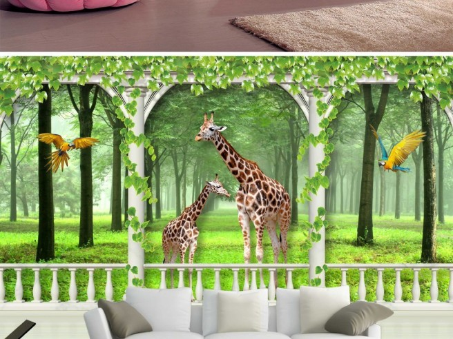 Жирафы на полянке