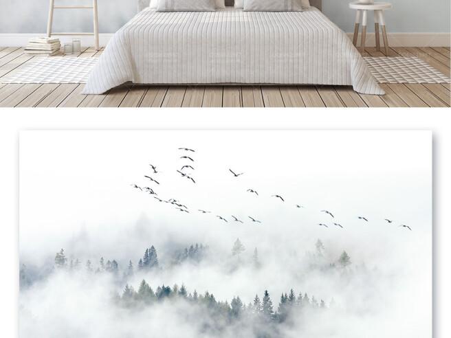 Стая птиц над туманным лесом