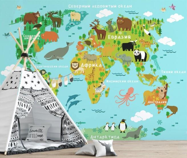 Голубая карта с мультяшными животными