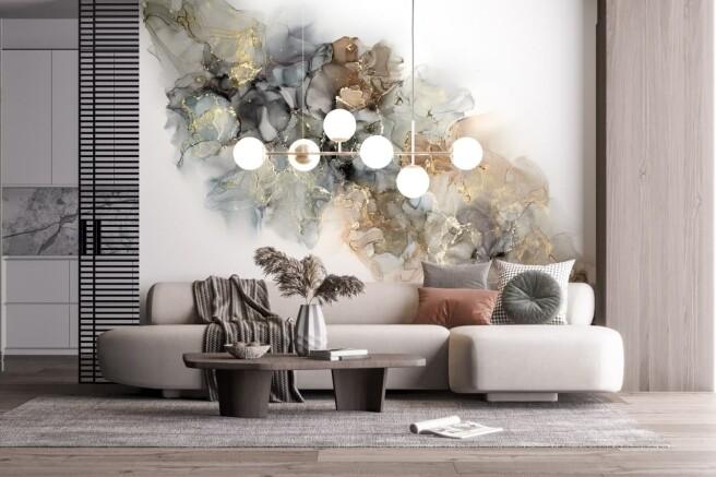 Фотообои разноцветная дымка на белом фоне
