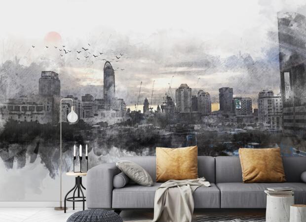 Серый город в дымке