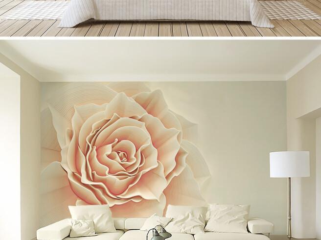 Фотообои Большая бежевая роза