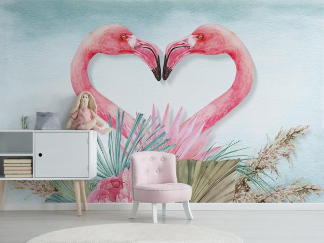 Фламинго в виде сердца