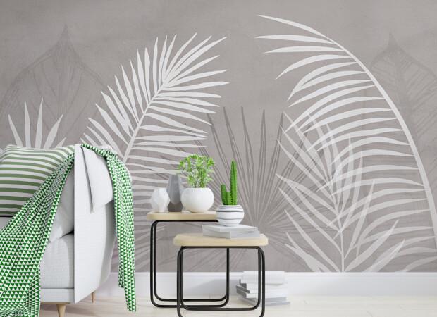 Большие белые листья пальмы