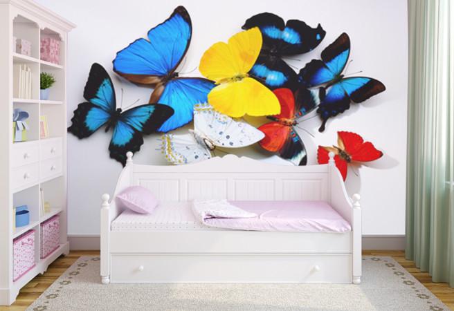 Фотообои Бабочки на стене