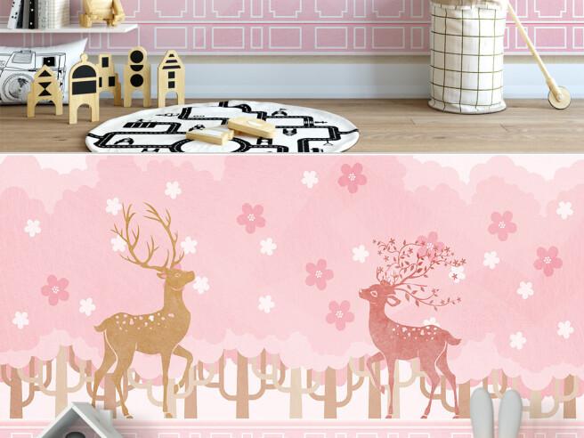 Олени на розовом фоне