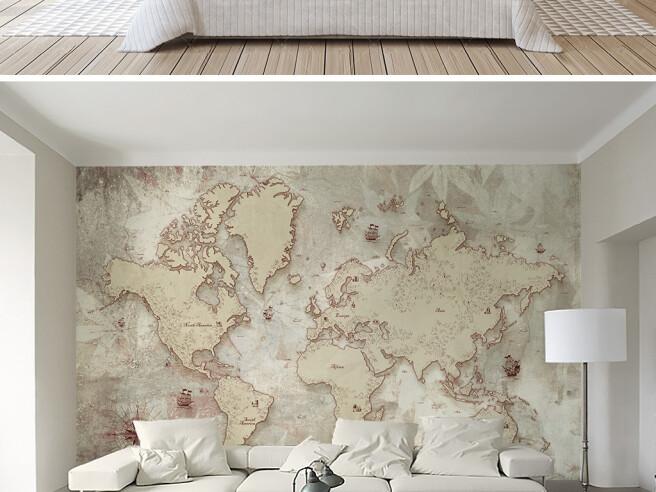 Фотообои Бежевая карта материков