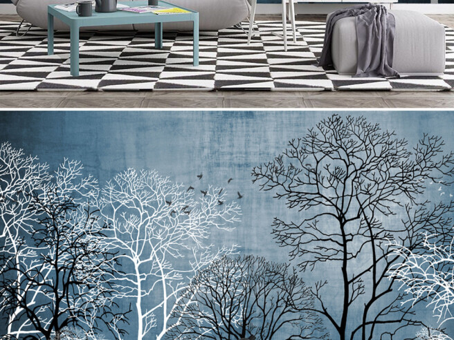 Черно-белые деревья и олень
