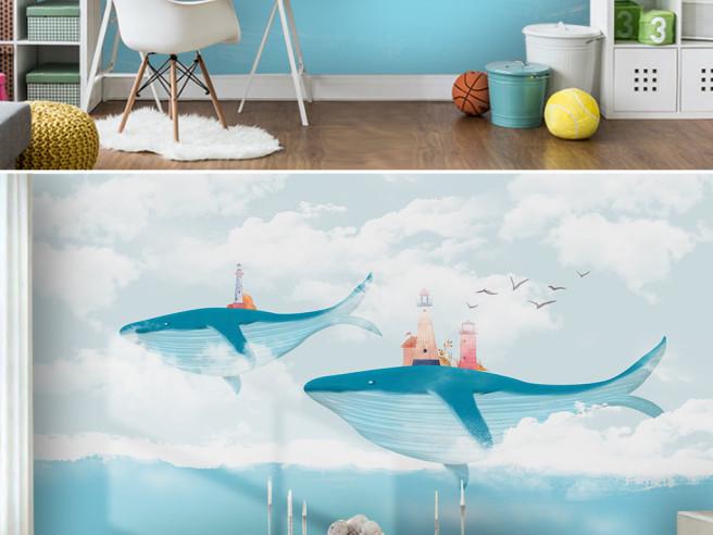 Фотообои Два кита с маяками