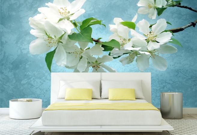 Фотообои Цветы на синем фоне
