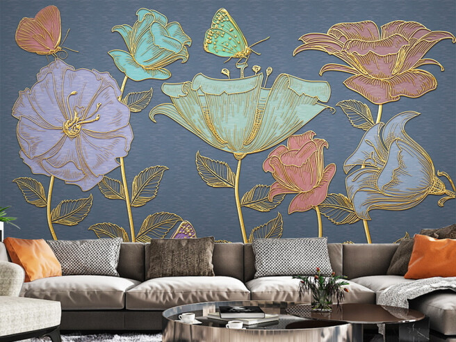Фотообои Золотые цветы и бабочки
