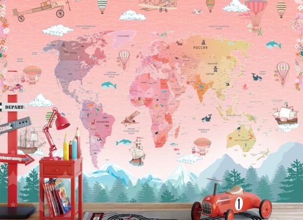 Розовая карта со странами