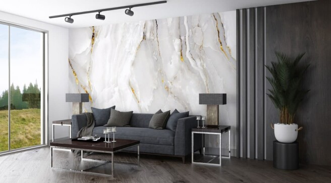 Фотообои белый мрамор с золотом