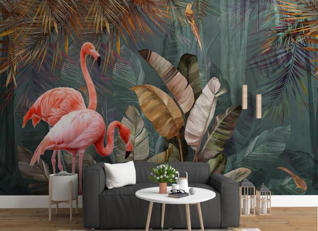Фламинго под пальмой