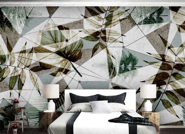 Листья на структурной стене