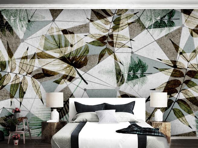 Фотообои Листья на структурной стене