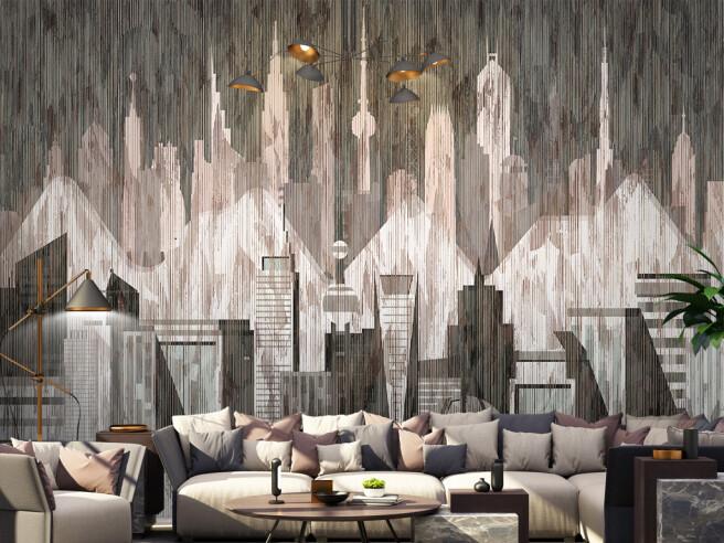 Фотообои Город на полосатой стене