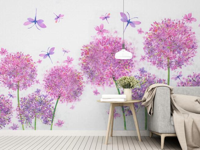 Фотообои Фиолетовые цветы и стрекозы
