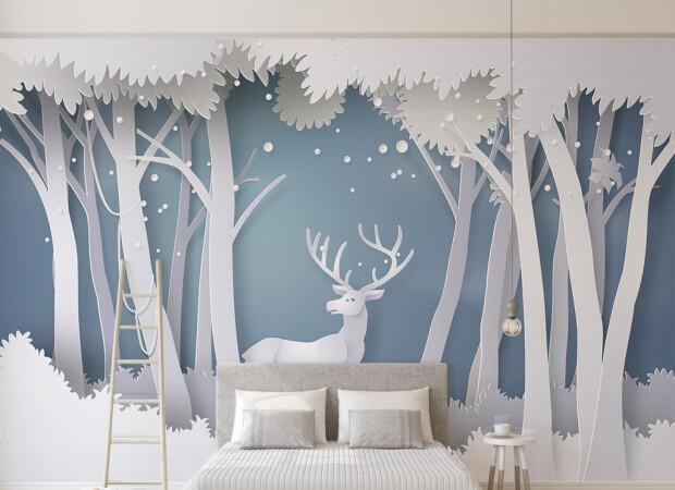 Олень в белом лесу