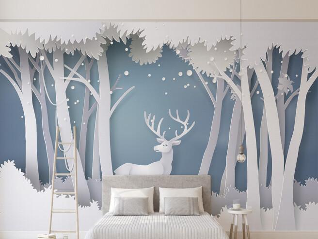 Фотообои Олень в белом лесу