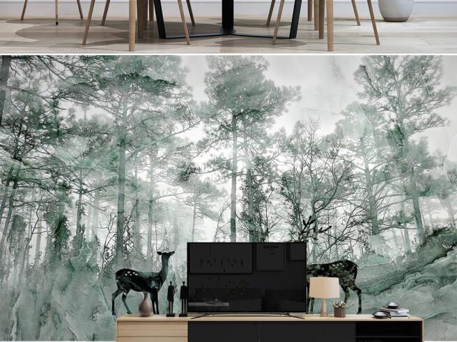 Фотообои Три оленя в лесу