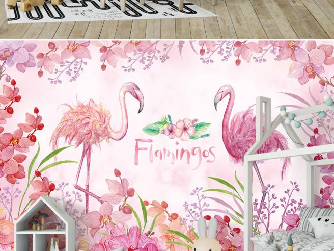 Цветок между фламинго