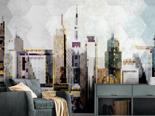 Фотообои Город на плитке
