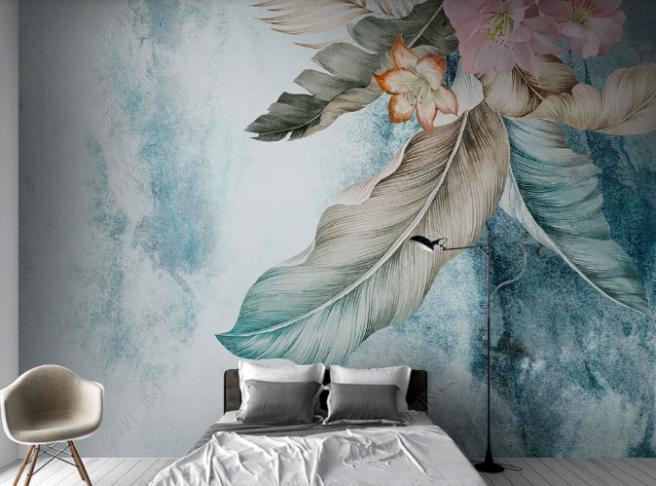 Фотообои [:ru]цветок на лофт стене[:]