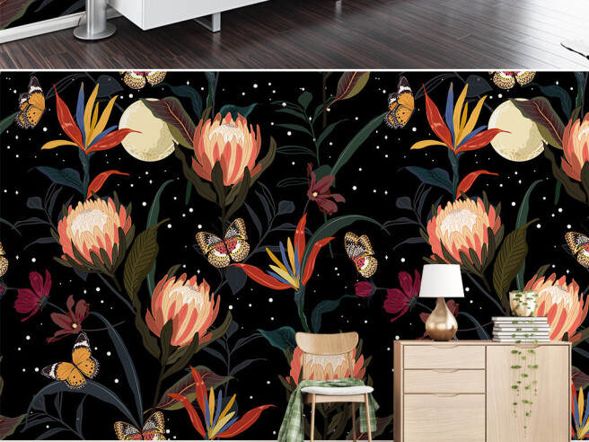 Бабочки на ночных цветах