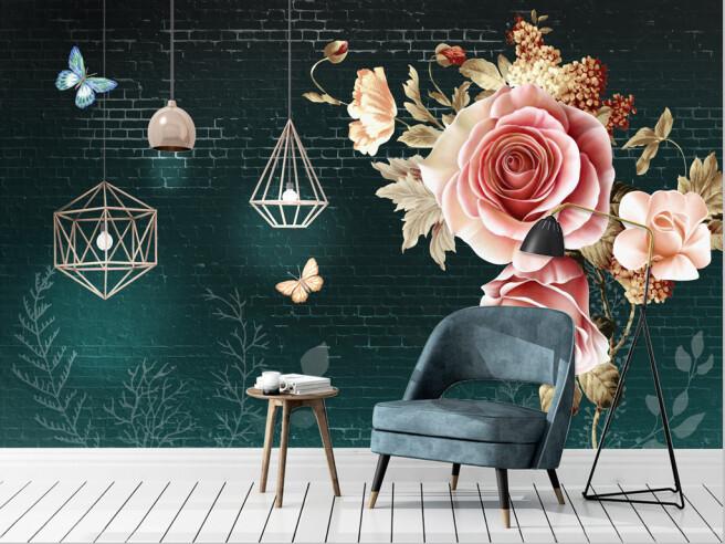 Розы на кирпичной стене