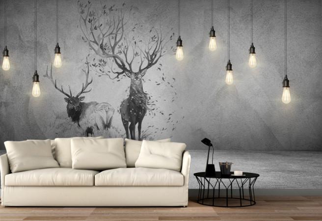 Фотообои черно белые олени
