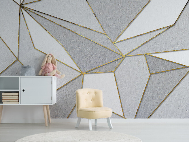 Фотообои Серо-золотые треугольники