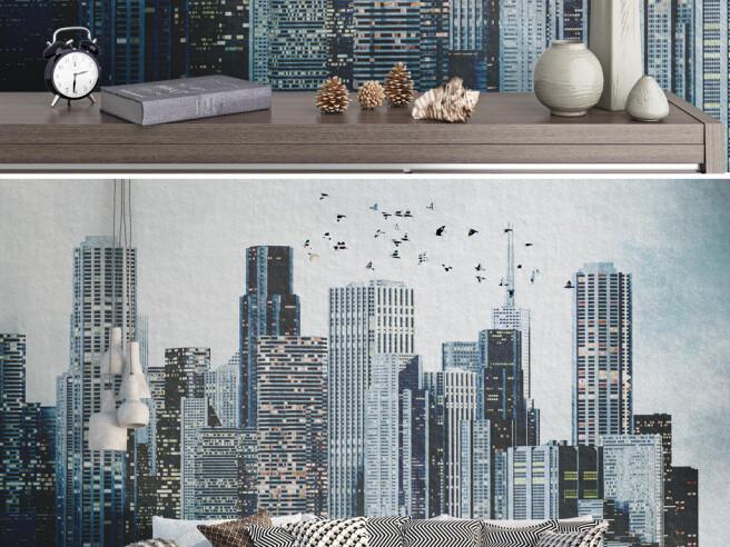 Стая птиц над вечерним городом