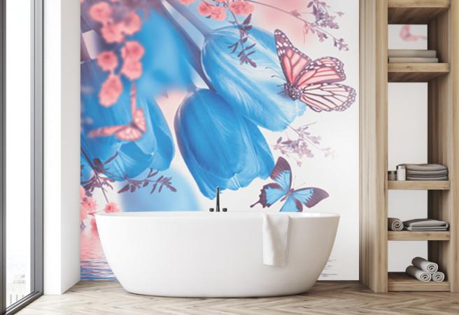 Фотообои Тюльпаны и бабочки