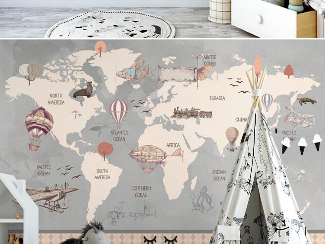 Фотообои Карта мира и поезд