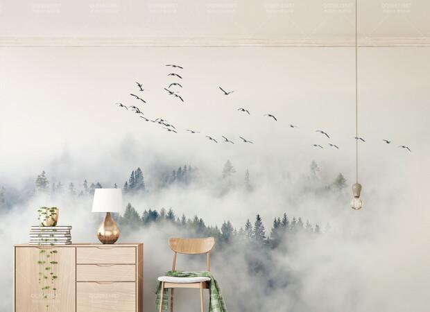 Лес в утреннем тумане