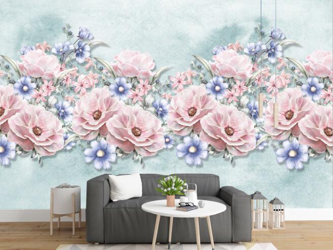 Розово голубые цветы