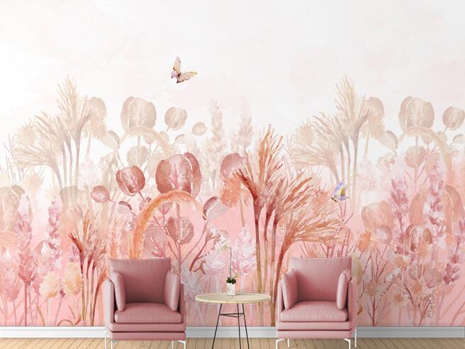 Фотообои Бабочка над розовыми кустами