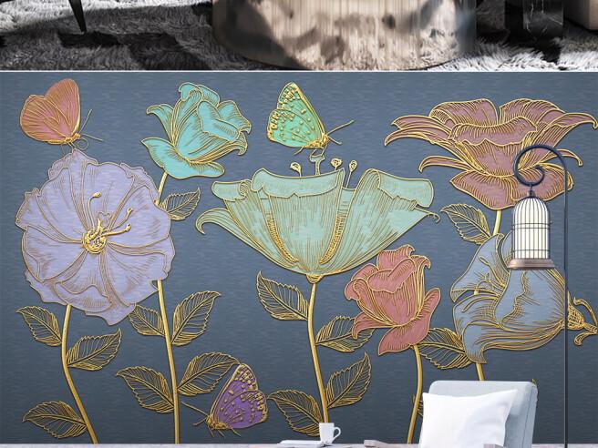Золотые цветы и бабочки