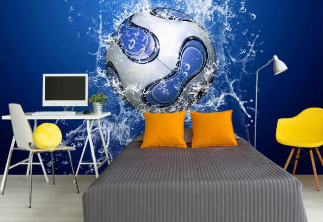 Фотообои футбольный мяч в воде