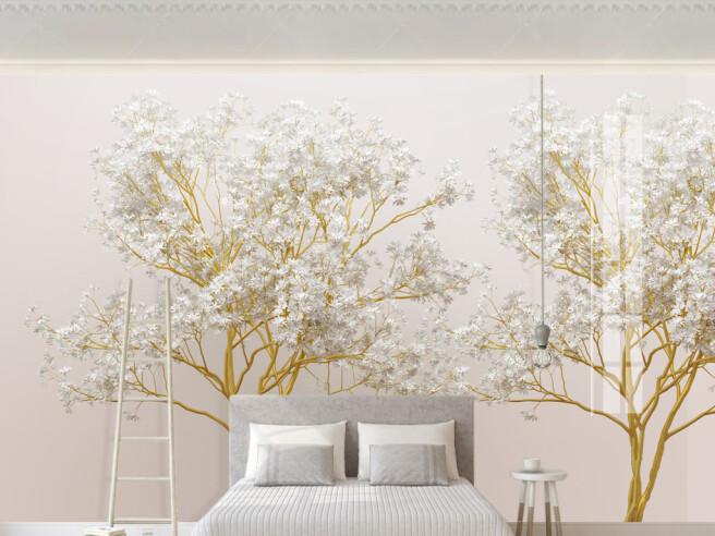 Фотообои Золотое дерево с белыми листьями