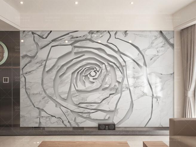 Фотообои Рельефная роза в граните